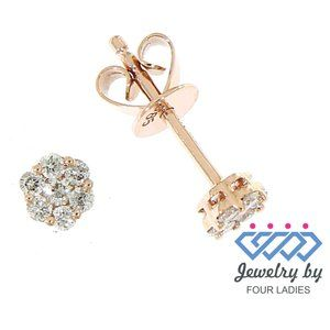 Natural Flower Cluster Diamond Earrings Rose Gold